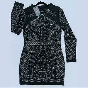 Sexy Long Sleeved Black Rhinestone Covered Dress